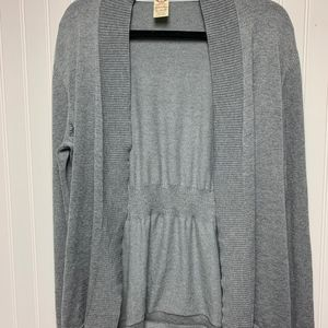 Gray open front cardigan long sleeve